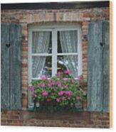 Rustic Window And Red Bricks Wall Wood Print