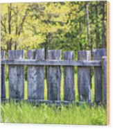 Rustic Wooden Fence At Old World Wisconsin Wood Print