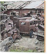 Rusting Antique Cars Wood Print