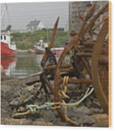 Rusty Anchors-2 Wood Print