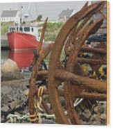 Rusty Anchors Wood Print