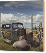 Rusty Auto Wreck Out West Wood Print