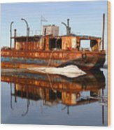 Rusty Barge Wood Print