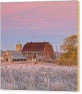 Rusty Barn At Dawn Wood Print