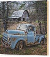Rusty Blue Dodge Wood Print