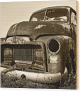 Rusty But Trusty Old Gmc Pickup Truck - Sepia Wood Print by Gordon Dean II