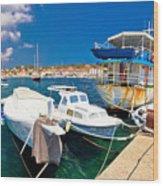Rusty Fishing Boat In Sali Harbor Wood Print