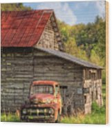 Rusty Ford At The Barn Wood Print