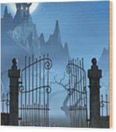 Rusty Gate And A Spooky Dark Castle Wood Print