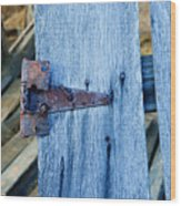 Rusty Hinge In The Blue Of The Evening Wood Print