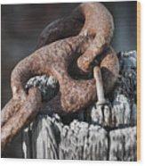 Rusty Iron Chain Railing Fragment Wood Print