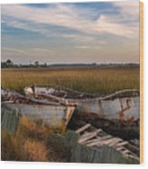 Rusty Lowcountry Boats Wood Print