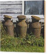 Rusty Milk Cans Wood Print