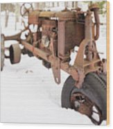 Rusty Old Steel Wheel Tractor In The Snow Tilt Shift Wood Print