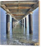 Rusty Pier  On The Ocean  From Below Wood Print