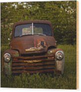 Rusty Red Chevy Wood Print