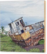 Rusty Retired Fishing Boat Wood Print