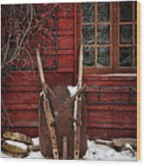Rusty Wheelbarrow Leaning Against Barn In Winter Wood Print by Sandra Cunningham