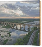 Rva Sunset Train Bridge Style Wood Print