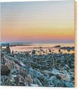 Rye, New Hampshire Sunrise Cairns Wood Print