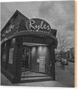 Ryles Jazz Club Cambridge Ma Inman Square Hampshire Street Black And White Wood Print