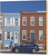 S Baltimore Row Homes - Wide Wood Print