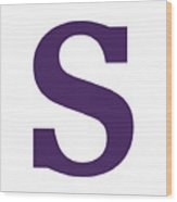 S In Purple Typewriter Style Wood Print