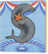 S Is For Seal And Starfish Wood Print