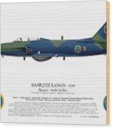 Saab J32e Lansen - 32507 - Side Profile View Wood Print