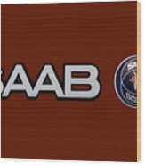 Saab Logo And Emblem Wood Print