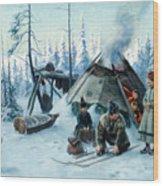 Saami Family At The Hut Wood Print