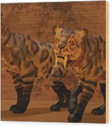 Saber-toothed Tiger Cave Wood Print