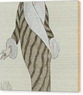 Sable Coat With White Fox Trim Wood Print