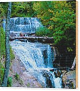 Sable Falls At Pictured Rocks National Lakeshore Trail, Michigan  Wood Print