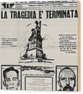 Sacco And Vanzetti Front Page Wood Print