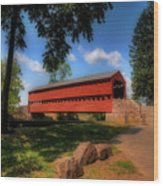 Sach's Covered Bridge Wood Print by Lois Bryan