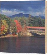 Saco River Covered Bridge Storm Wood Print