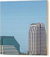 Sacramento California Cityscape Skyline On Sunny Day Wood Print