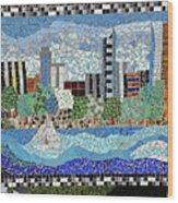Sacramento City Skyline Mosaic Wood Print