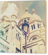 Sacre Coeur Church Vintage Shabby Chic Style Wood Print