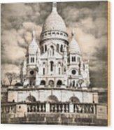 Sacre Coeur Sepia Wood Print