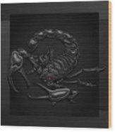 Sacred Black Scorpion On Black Canvas Wood Print