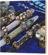 Sacred Gemstones Energy Amulets Crystal Balls Magic Wands Wood Print