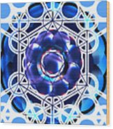Sacred Geometry Blue Shapes Background Wood Print