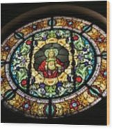 Sacred Heart Of Jesus Stained Glass Window Wood Print