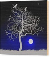 Sacred Raven Tree Wood Print