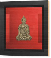 Sacred Symbols - Gold Buddha On Black And Red  Wood Print
