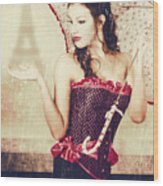 Sad French Pin-up Woman. Loss In The City Of Love Wood Print