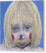 Sad Little Girl Clown Wood Print