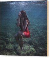 Sad Mermaid Wood Print